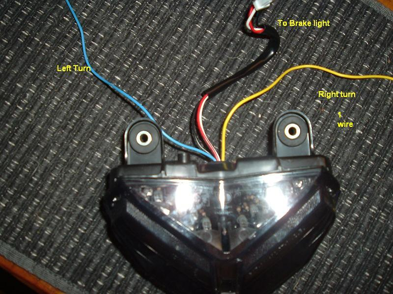 connecting an integrated taillight do you have a link to the integrated light you have be able to dig up some more info if you only have 3 wires sounds like just a tail brake